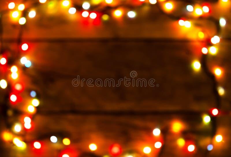 美好的圣诞灯bokeh背景 这里放置您的文本 免版税图库摄影