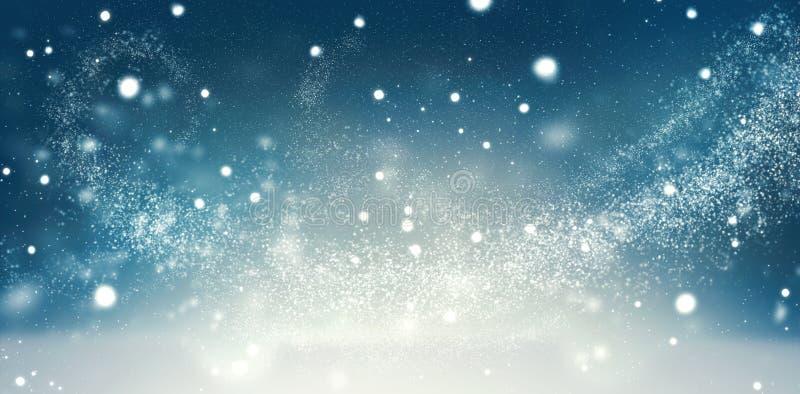 美好的圣诞节冬天雪背景 库存例证