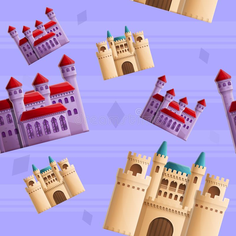 美好的在城堡题材的动画片无缝的样式  库存例证