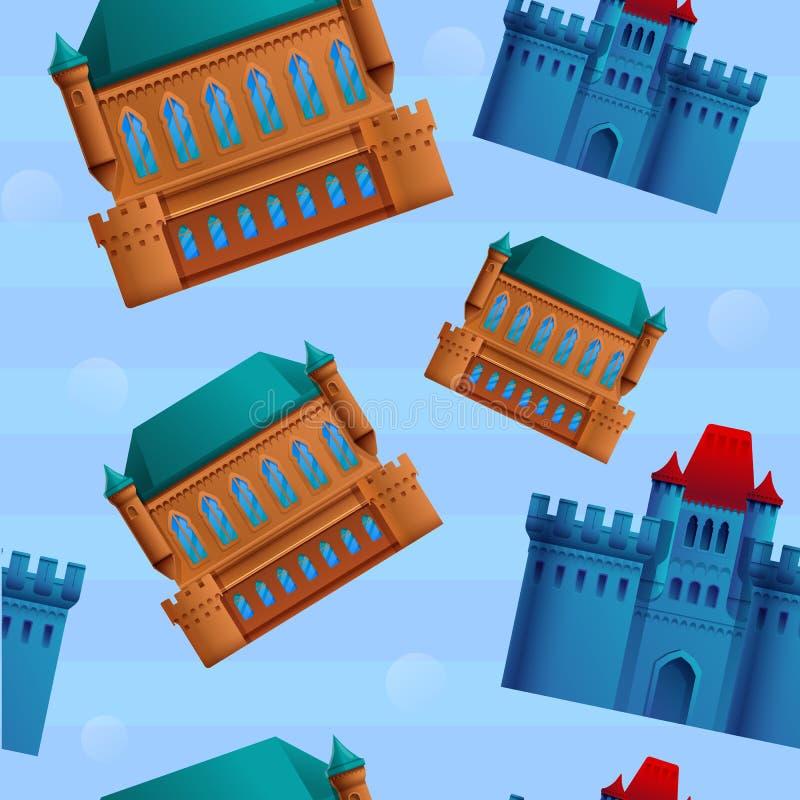 美好的在城堡题材的动画片无缝的样式  皇族释放例证