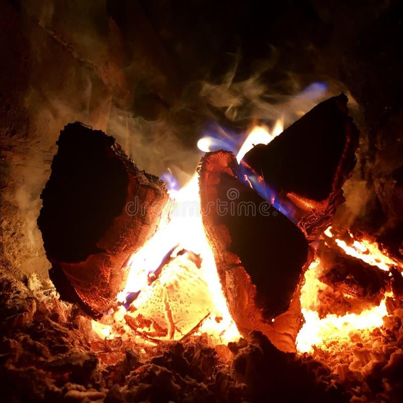 美好的在明亮的黄色火的火焰褐色木深黑色煤炭在金属火盆里面 库存照片