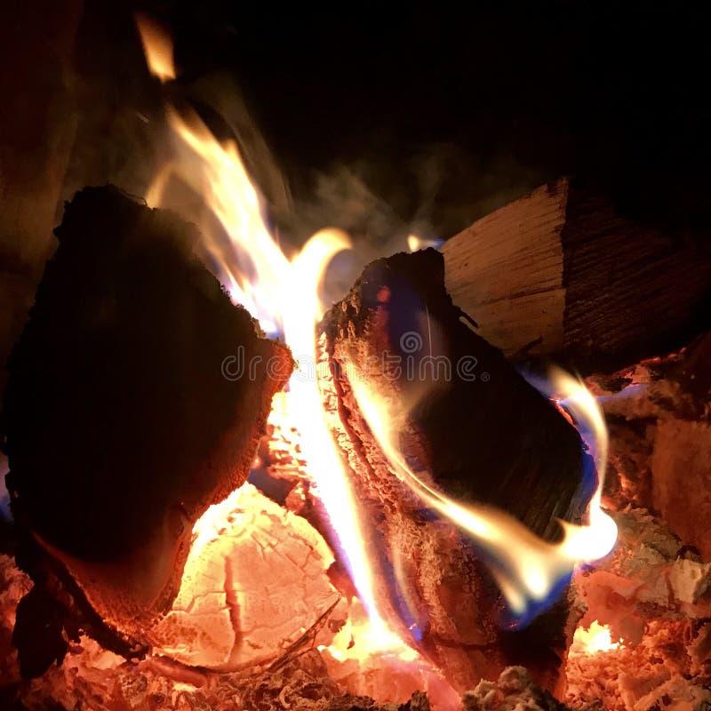 美好的在明亮的黄色火的火焰褐色木深黑色煤炭在金属火盆里面 免版税库存照片