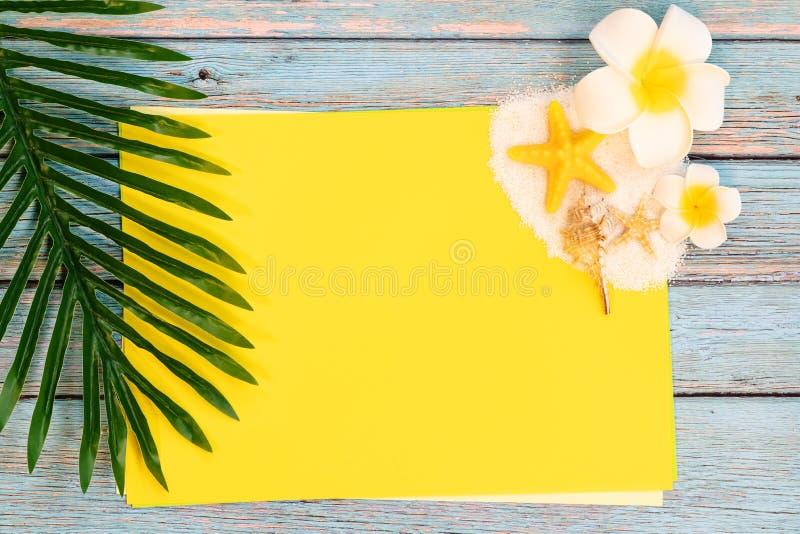 美好的在纸的夏天休假、海滩辅助部件、贝壳、沙子和棕榈事假拷贝空间的 免版税库存照片