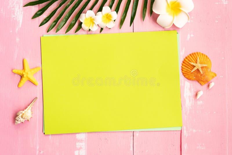 美好的在纸的夏天休假、海滩辅助部件、贝壳、花和棕榈事假拷贝空间的 库存图片
