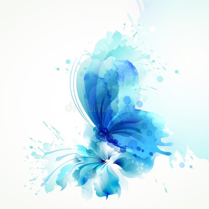 美好的在蓝色花的水彩摘要透亮蝴蝶在白色背景 库存例证