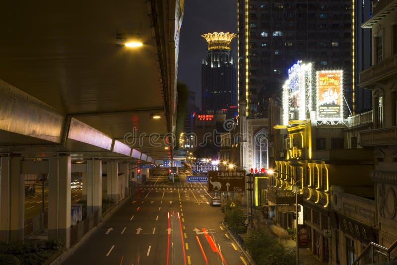 美好的城市上海夜 免版税库存照片