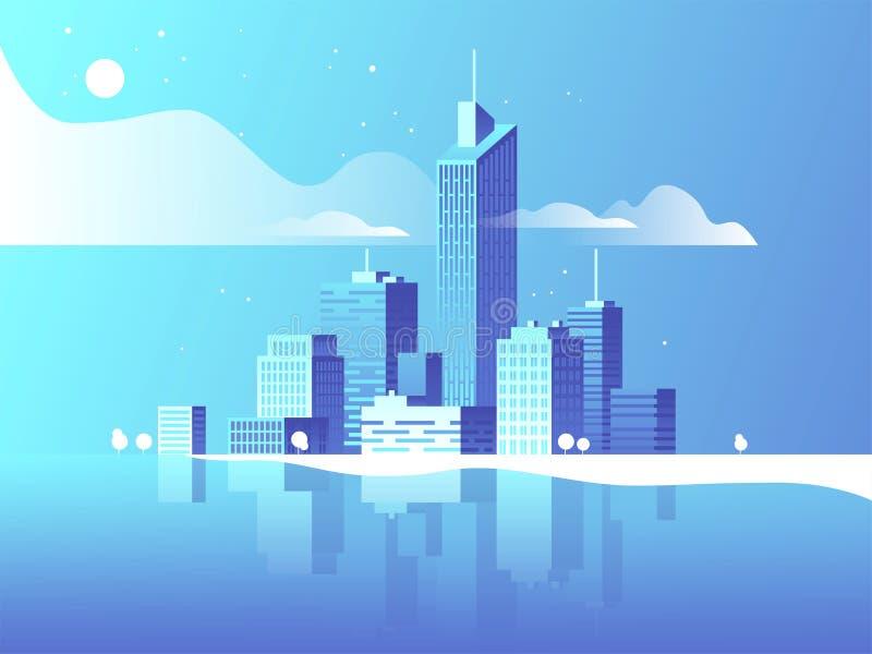 美好的城市例证横向晚上 现代建筑学,大厦,摩天大楼 平的传染媒介例证 3d样式 皇族释放例证