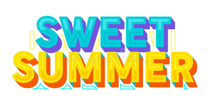美好的夏天五颜六色的印刷术、标签或者徽章 贺卡、海报、横幅和T恤杉设计的模板 ?? 皇族释放例证