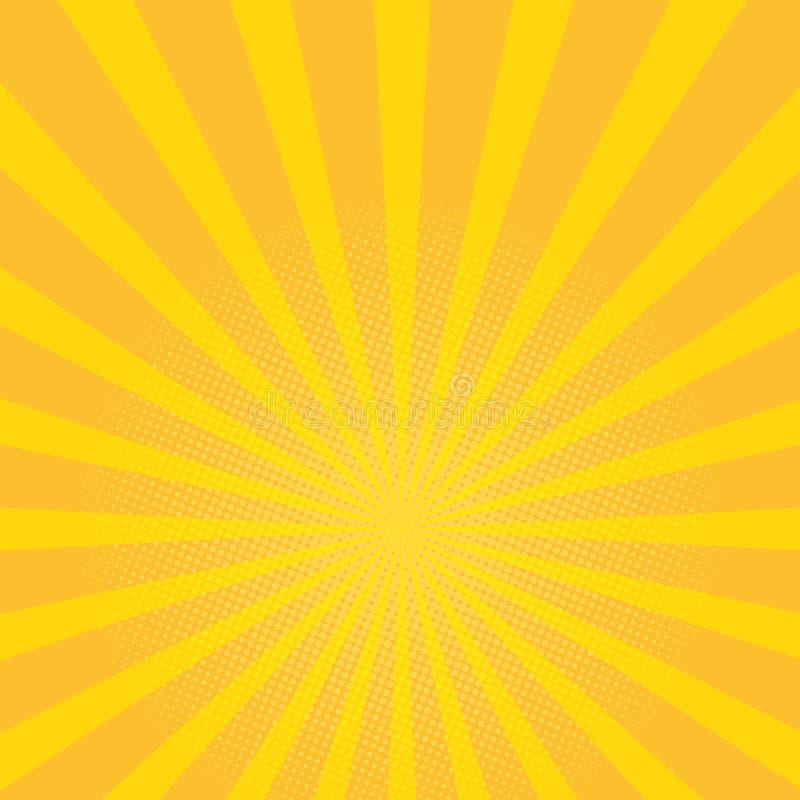美好的夏天旭日形首饰背景 黄色发出光线流行艺术背景 例证减速火箭的向量 向量例证