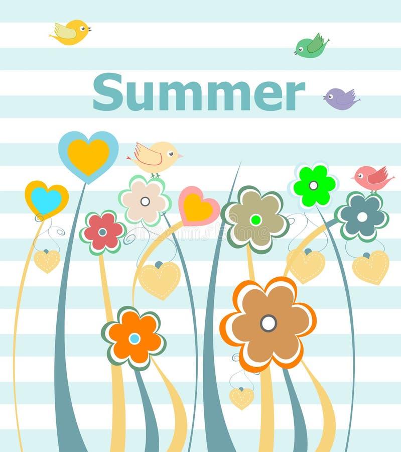 美好的夏天花卉邀请卡片 被设置的暑假、花和抽象线 皇族释放例证
