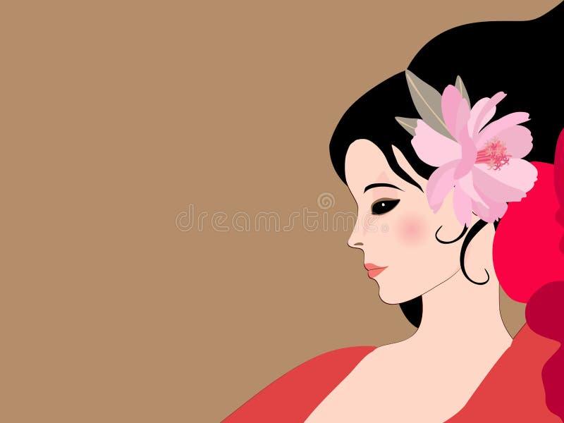 美好的外形妇女面孔关闭 桃红色波斯菊花装饰了她的头发 佛拉明柯舞曲舞蹈家 o r 向量例证