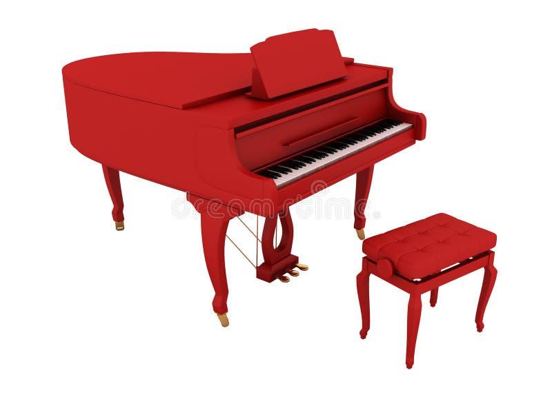 美好的大平台钢琴红色 库存例证
