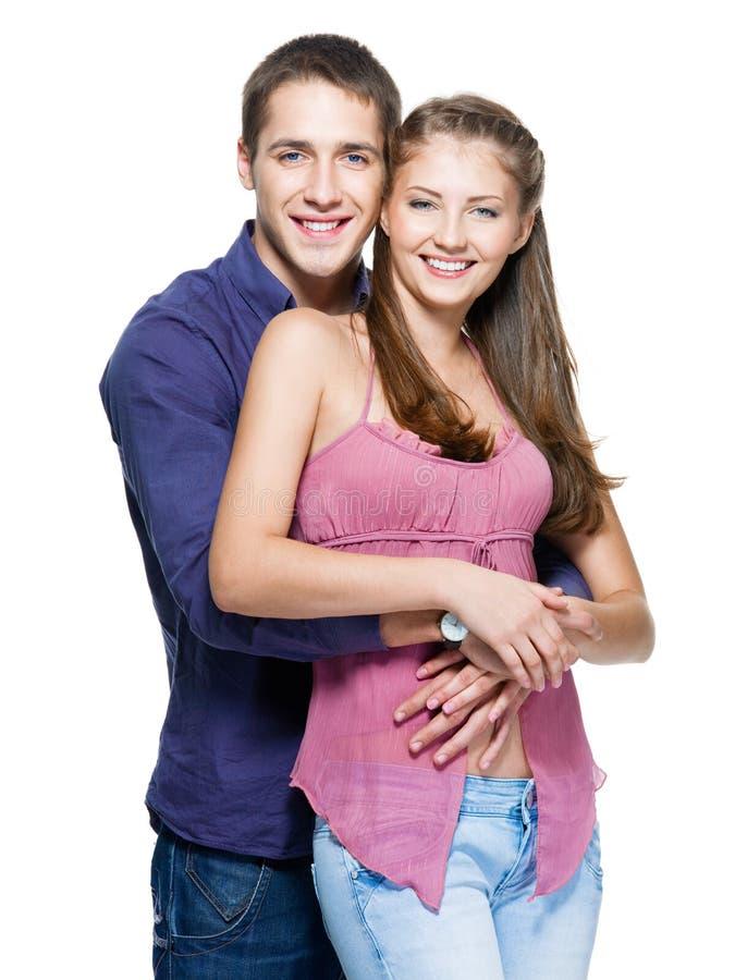 美好的夫妇愉快的微笑的年轻人 库存照片