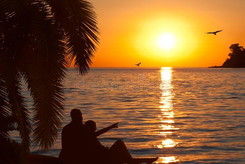 美好的夫妇爱恋日落注意 免版税库存图片