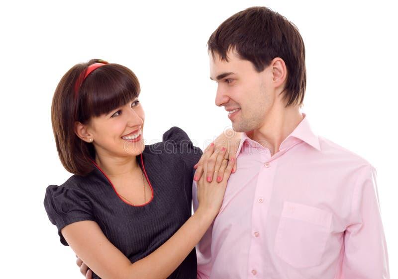 美好的夫妇笑的年轻人 免版税库存图片