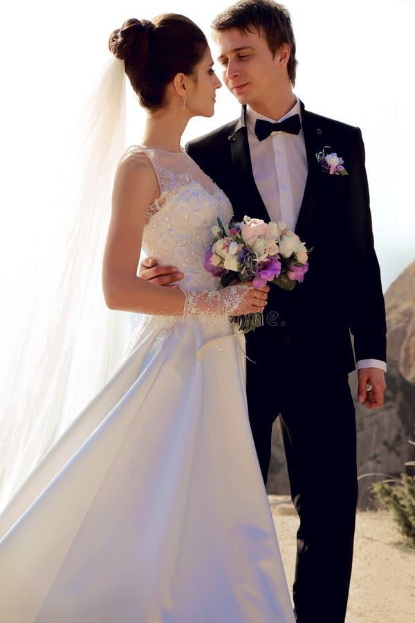 美好的夫妇 摆在与海费用的典雅的新郎的婚礼礼服的华美的新娘 免版税库存图片