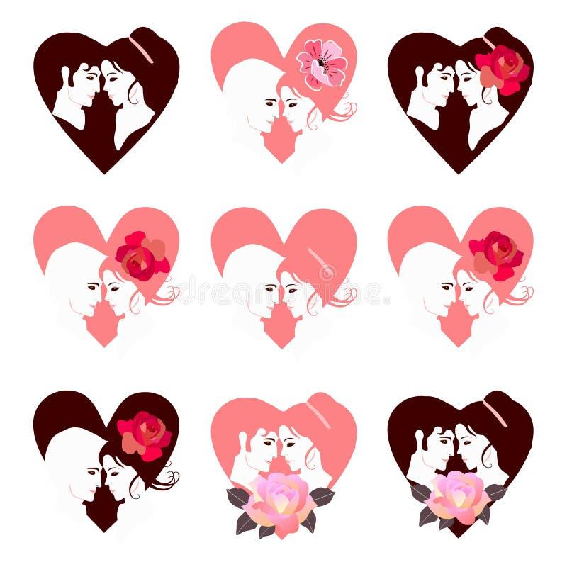 美好的套与爱的夫妇的画象在心脏形状  华伦泰卡片的汇集 也corel凹道例证向量 皇族释放例证