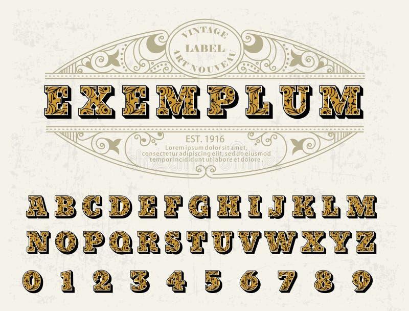 美好的套大写字母,与花饰的葡萄酒维多利亚女王时代的样式字体 对您的商标,组合图案,标签 向量例证
