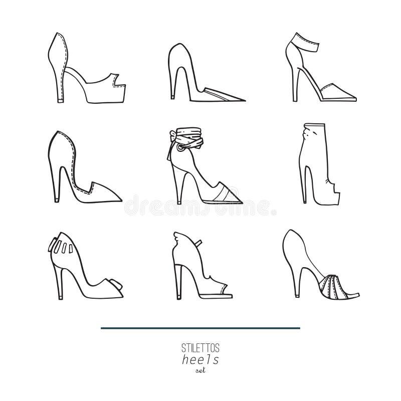 美好的套隔绝在背景平的鞋子手拉在细鞋跟的时髦的收藏 方式例证 皇族释放例证