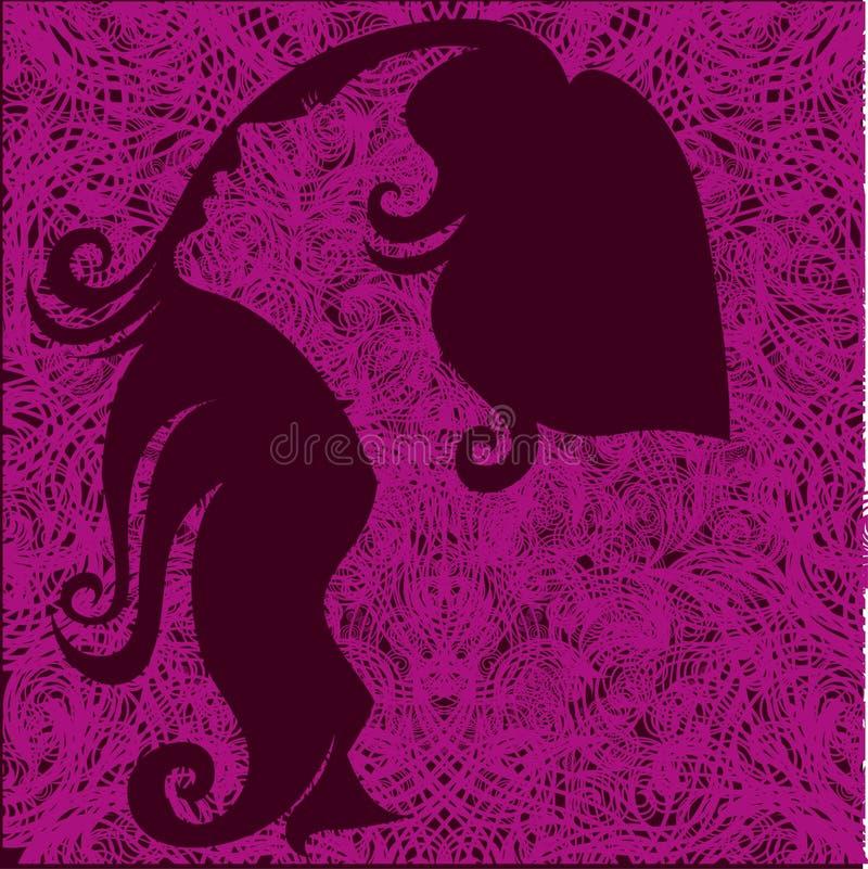 美好的女孩头发粉红色向量 库存例证