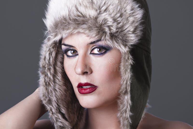 美好的女孩帽子冬天 库存图片