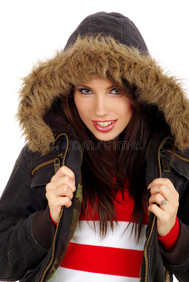 美好的女孩纵向冬天 库存照片