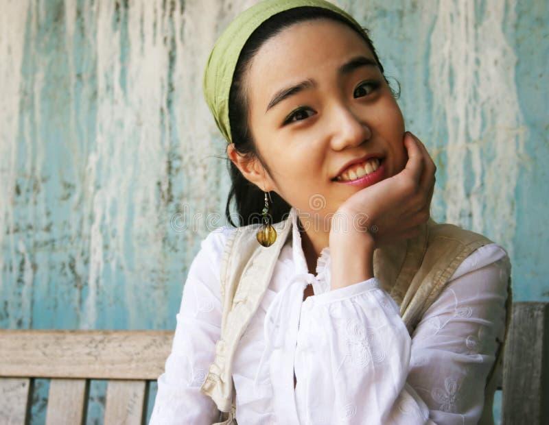 美好的女孩韩文 免版税库存照片