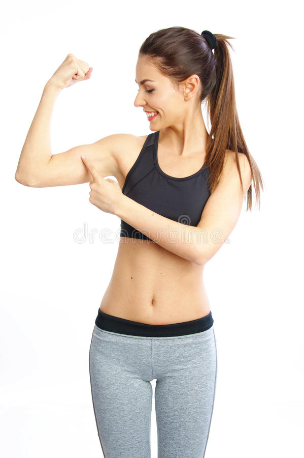 美好的女孩锻炼运动的时尚和检查在健身训练以后干涉 库存照片