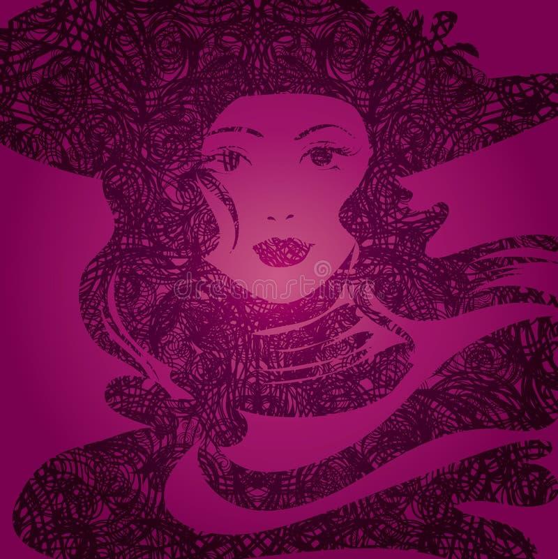 美好的女孩grunge头发向量 皇族释放例证
