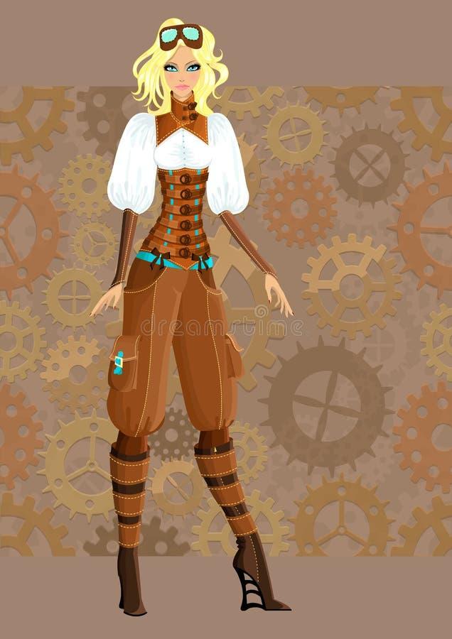 美好的女孩steampunk 向量例证