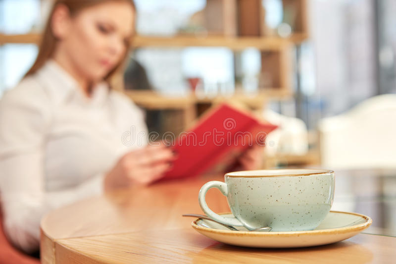 美好的女实业家读书 免版税库存照片