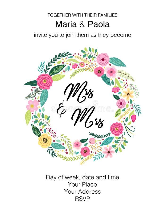 美好的女性同性恋人的婚礼花卉邀请 库存例证