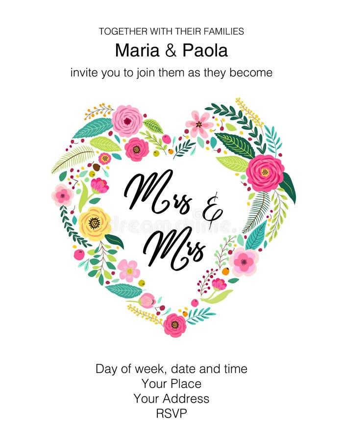 美好的女性同性恋人的婚礼花卉邀请 向量例证