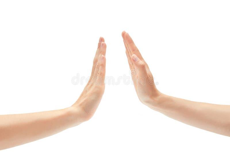 美好的女性手招呼的上流五姿态 背景查出的白色 库存图片