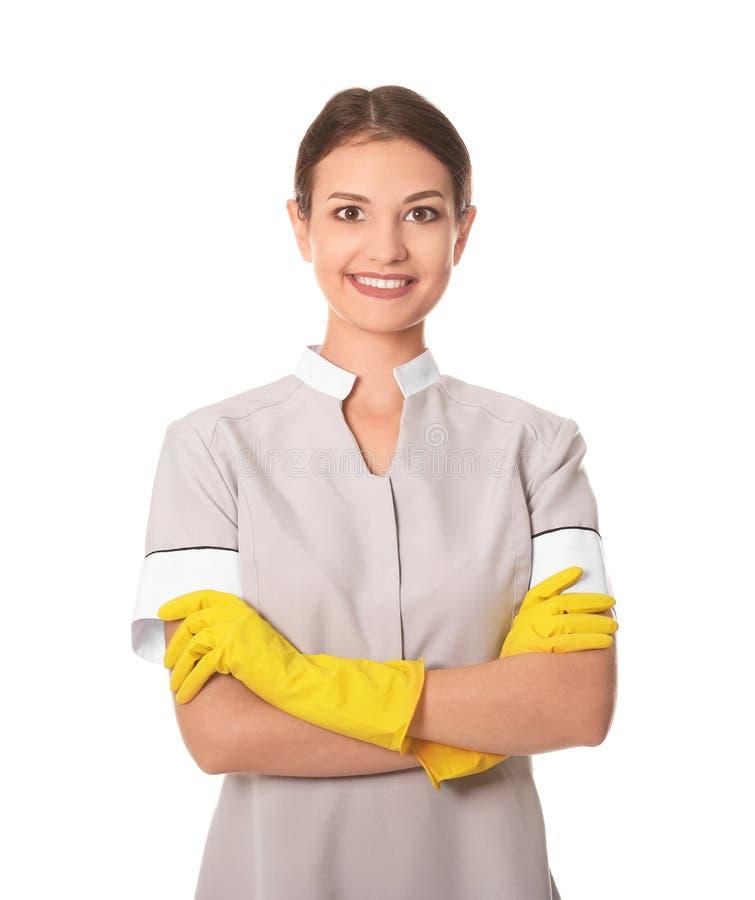 美好的女服务生白色背景 库存照片