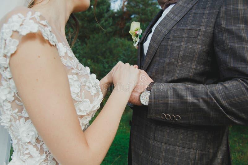 美好的婚姻的夫妇在森林有薄纱面纱和开放低后庄重装束的新娘接触蝶形领结的新郎 图库摄影