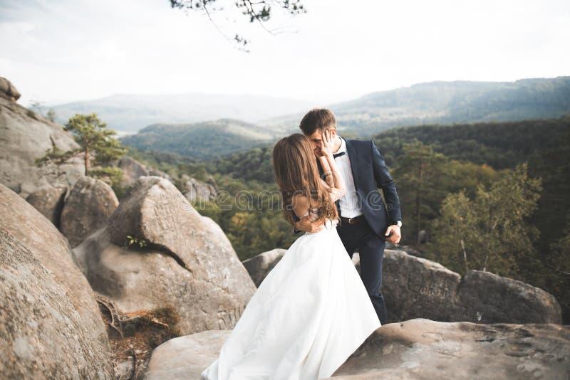 美好的婚姻的夫妇,新娘和新郎,在爱在山背景  库存图片