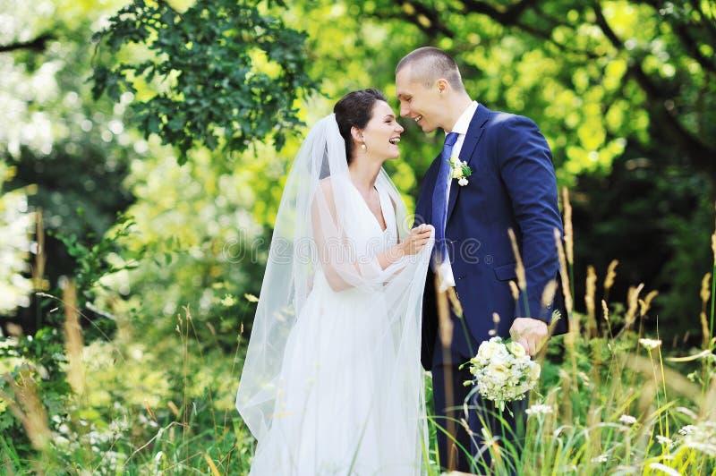 美好的婚礼夫妇。户外画象 免版税库存图片