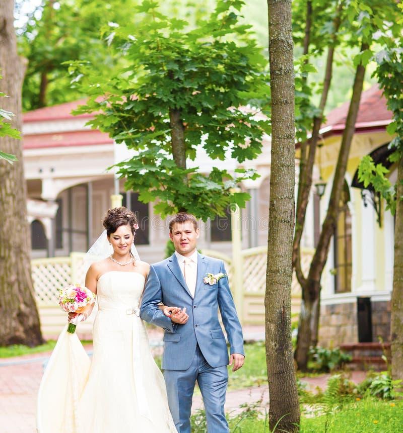 美好的婚礼夫妇享受婚姻 免版税库存照片