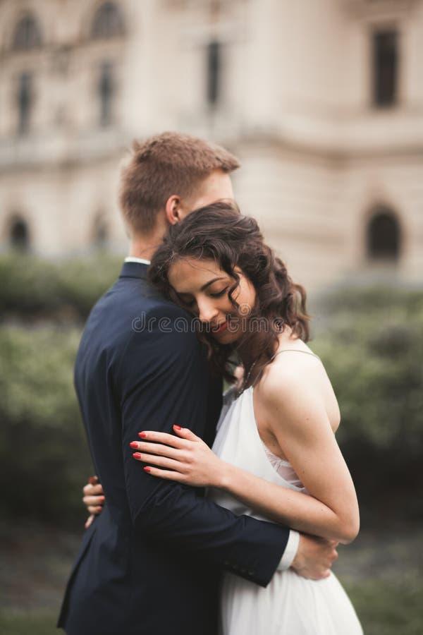 美好的婚礼夫妇,新娘,亲吻和拥抱以剧院为背景的新郎 免版税库存图片
