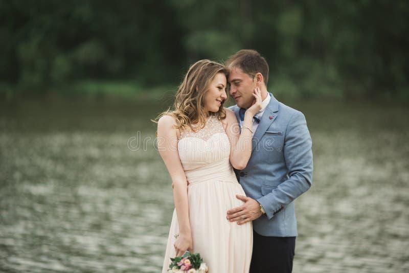 美好的婚礼夫妇,新娘,亲吻和摆在桥梁的新郎在湖附近 库存图片