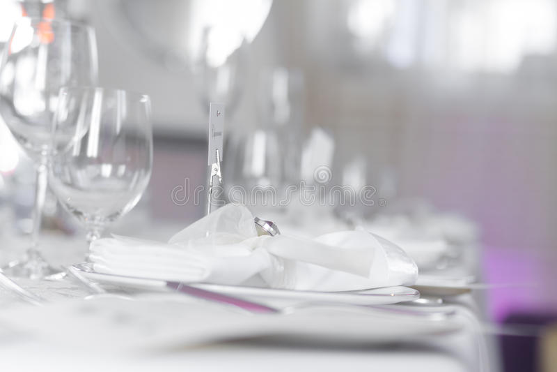 美好的婚礼桌集合的图象 免版税库存图片