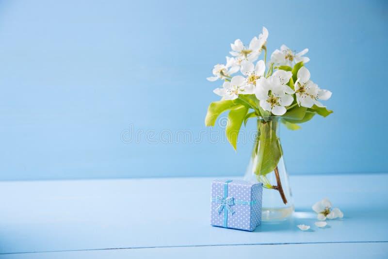 美好的嫩白色开花的分支蓝色小的礼物盒和花束在玻璃花瓶的在蓝色木背景 免版税库存图片
