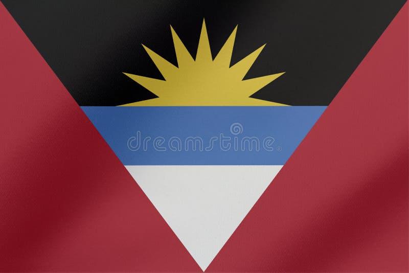 美好的安提瓜和巴布达挥动的旗子例证 皇族释放例证