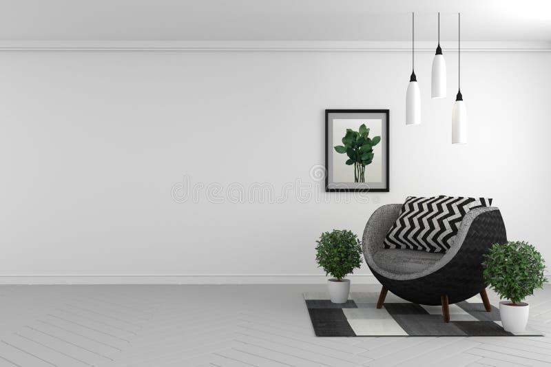 美好的室,室内墙白色背景的嘲笑与织品沙发和植物 3d?? 库存例证