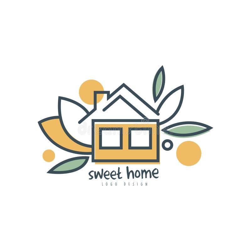 美好的家庭商标模板设计、eco友好的房子概念、清洁能源、建筑材料和技术传染媒介 库存例证