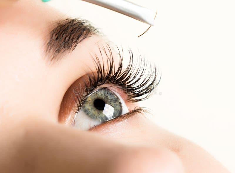 美好的少妇睫毛引伸 与长的睫毛的妇女眼睛 美容院概念 免版税库存照片