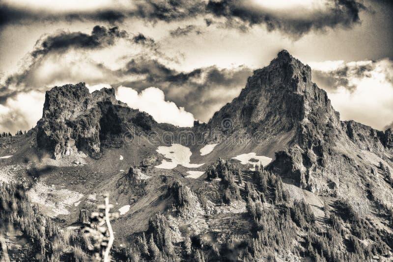 美好的山峰在Mt更加多雨的国家公园 库存照片