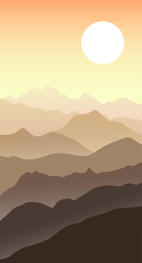 美好的山风景在夏天晚上 向量例证