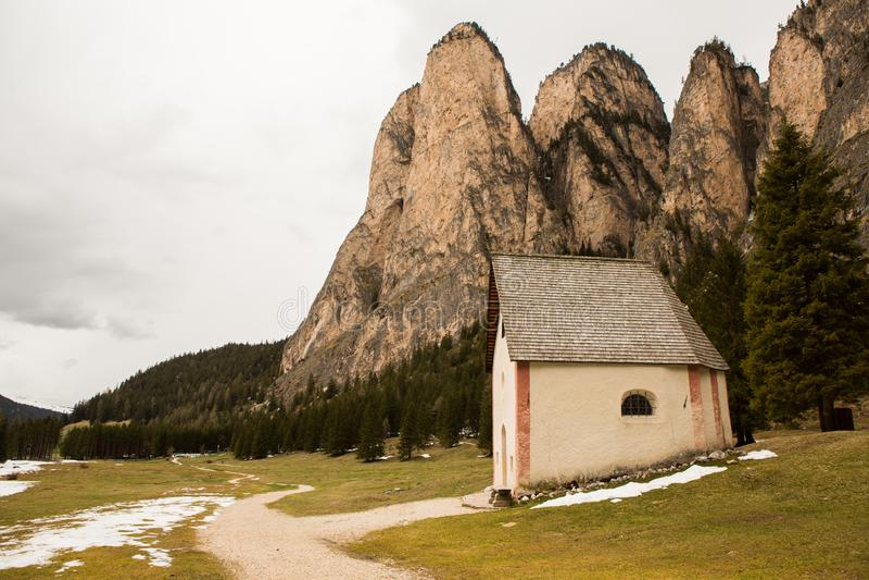 美好的山风景在有新鲜的绿色草甸的阿尔卑斯绽放的在一美好的好日子春天 多洛米蒂montains 免版税库存图片